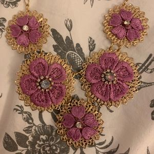 Gold statement necklace with pink flowers